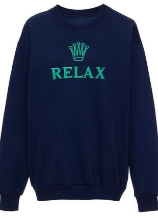 Blusa moletom relax marinho