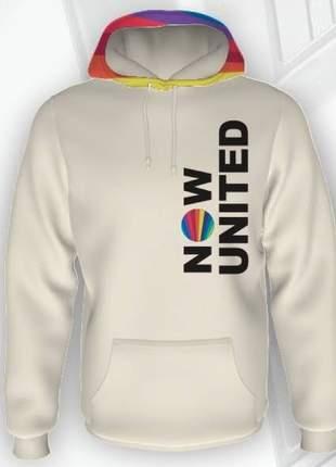 Blusa de moletom feminina tons pasteis now united com logo no capuz