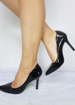 Sapato feminino scarpin verniz preto