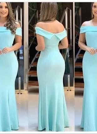 Vestido longo azul serenity festa batizado bojo casamento
