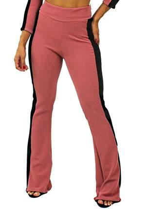 Calça feminina cintura alta detalhe lateral ((pronta entrega:))