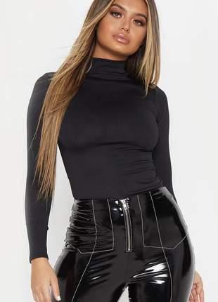 Body feminino inverno gola alta manga longa confortável