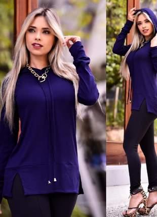 Blusa com capuz - blue