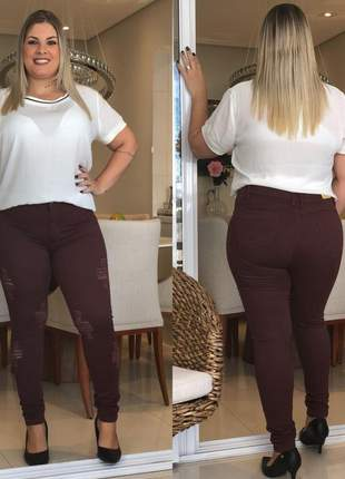 Calça jeans feminina plus size color cintura alta