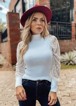 Blusa tricot cacharrel manga tule poa feminina