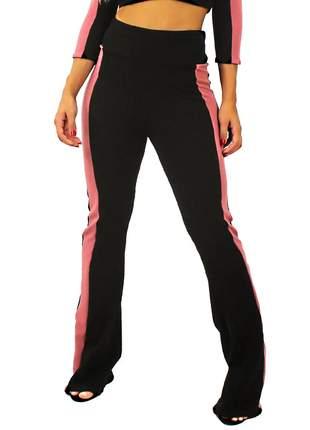 Calça feminina detalhe lateral cintura alta ((pronta entrega:))