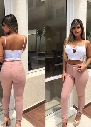 Calça jeans feminina rosê levanta bumbum com lycra