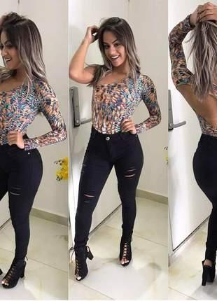 Calça jeans preta destroyed feminina cintura alta