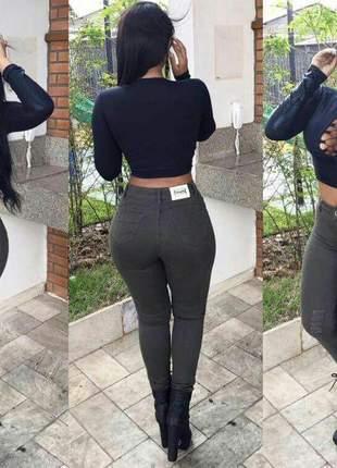 Calça jeans verde destroyed feminina cintura alta
