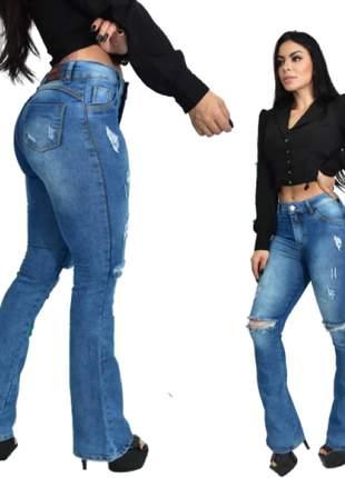 Calça jeans flare feminina delavê destroyed com lycra cintura alta