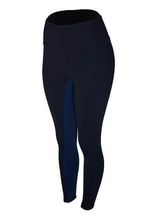 Calça legging fitness cintura alta recorte interno preto com azul feminina