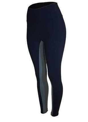 Calça legging fitness cintura alta recorte interno preta com cinza feminina
