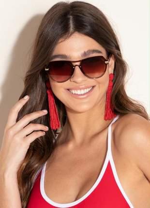 Óculos de sol feminino aviator geométrico marrom quintess