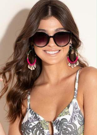 Óculos de sol feminino oversized preto quintess