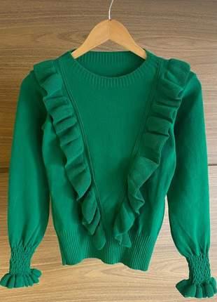Tricot de lã com babado no busto e punho verde bandeira