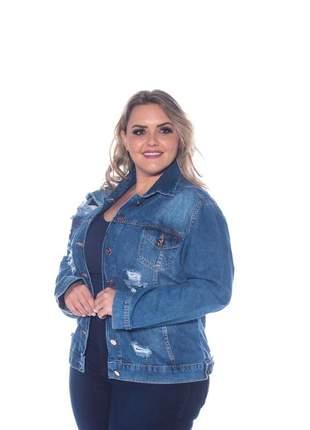 Jaqueta destroyed jeans plus size feminina tamanho grande
