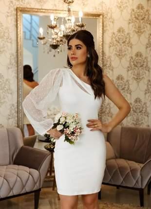 Vestido branco noiva off white noivado casamento civil batizado formatura