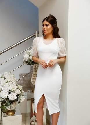Vestido branco off white midi casamento civil noivado batizado