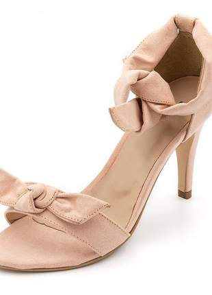 Sandalia social feminina salto alto fino laço rosa claro