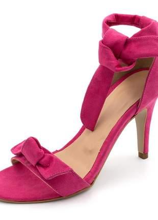 Sandalia social feminina salto alto fino laço rosa pink