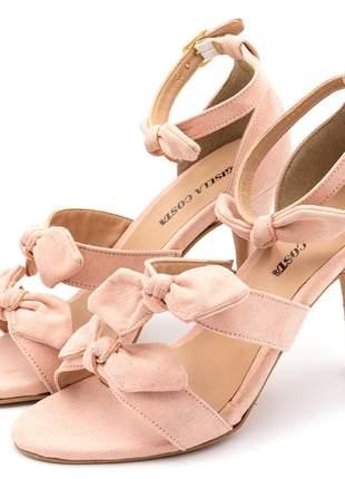 Sandália feminina social salto alto fino rosa bebe laços