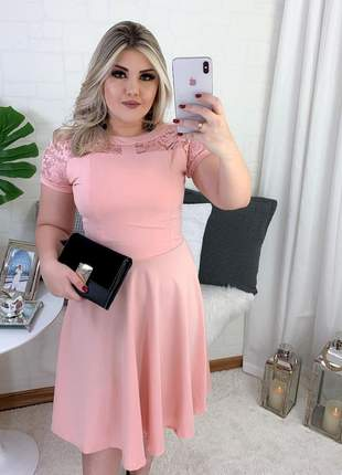 Vestido midi gode rose princesa moda evangelica festa