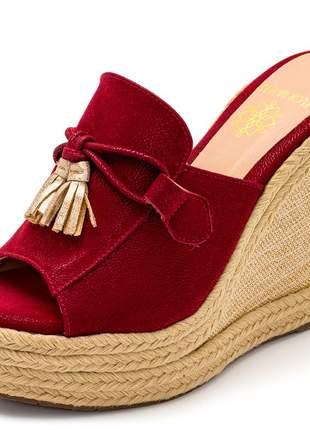 Sandália anabela tamanco vermelho salto plataforma juta corda