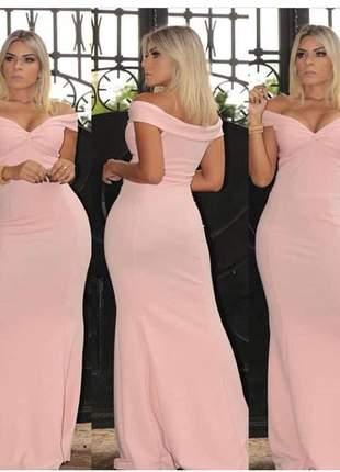 Vestido longo moda festa casamento civil serenity rosê marsala