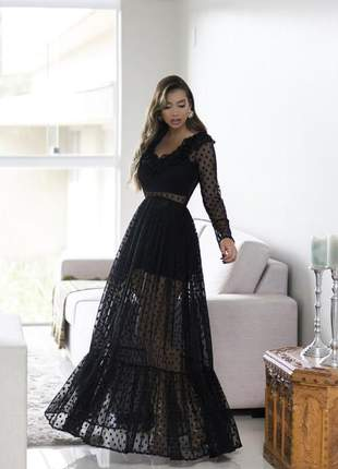 Vestido festa preto hot pant - duas peças