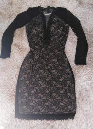 Vestido midi moda inverno festa preto renda elegante manga