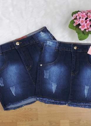 Saia jeans feminina curta desfiada com lycra
