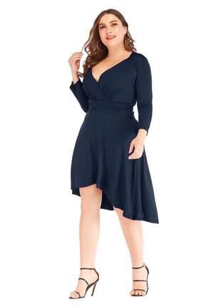 Vestido juliana plus size malha com forro ref:966 (azul-marinho)