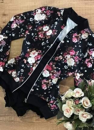 Jaqueta estampada florida