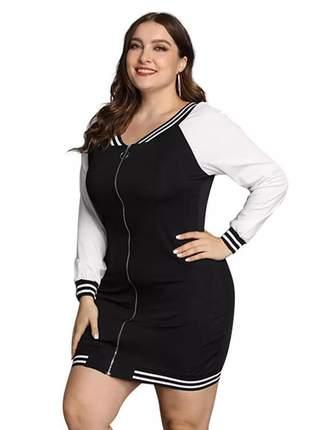 Vestido plus size com zíper frontal e listras ref:968 (preto/branco)