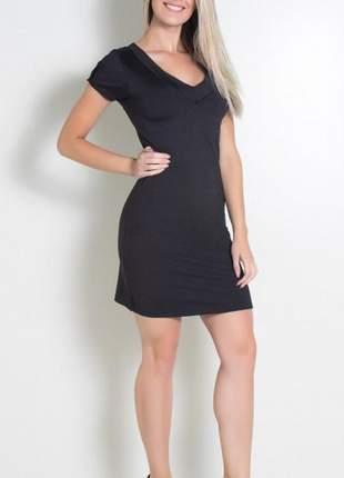 Vestido preto com recorte e gola v #blackfriday