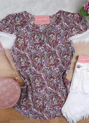 Blusa feminina estampada com botão bs687