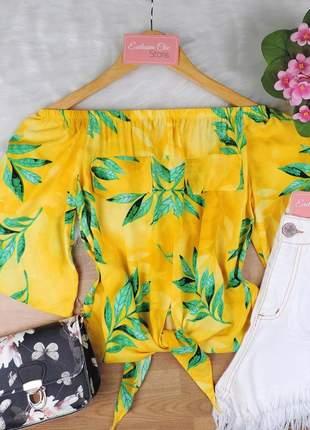 Blusa ciganinha feminina cropped com amarração bs715