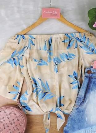 Blusa ciganinha feminina cropped com amarração bs718