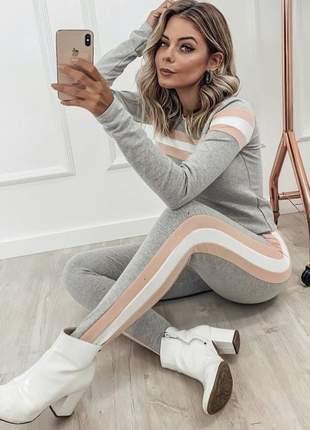 Conjunto moletinho blusa manga longa calça legging cinza e rosa