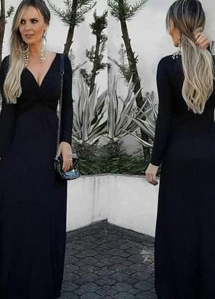 Vestido longo manga longa preto decote elegante