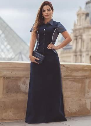 Vestido jeans longo botões feminino joyaly moda evangélica