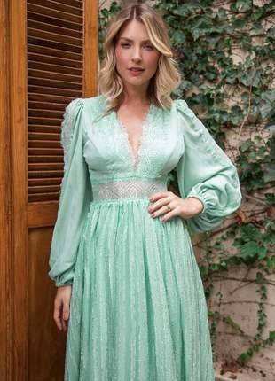 Vestido manga longa verde menta  doce maria
