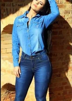 Camisa feminina  jeans manga longa