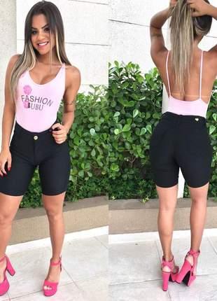 Bermuda jeans preta meia coxa modeladora