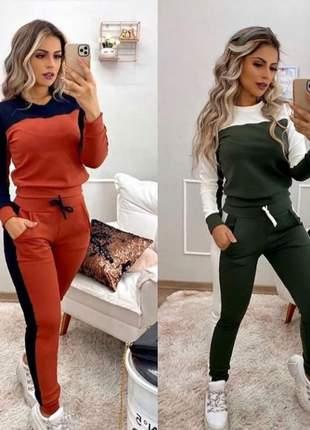 Conjunto malha crepe blusa bicolor + calça com bolso nova coleção