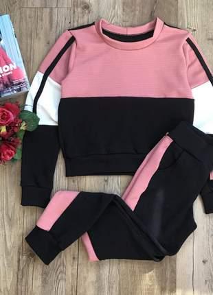 Conjunto feminino calça blusa moletinho crepe moda blogueira
