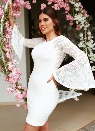 Vestido branco off whithe renda casamento civil batizado