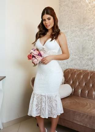 Vestido branco festa renda casamento civil noivado batizado