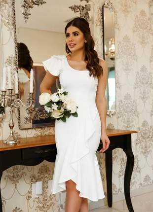 Vestido midi casamento civil branco off white noivado batizado