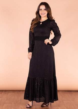 Vestido longo black babados manga joyaly moda evangélica